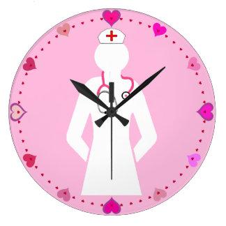 Icono del oficio de enfermera con el reloj de pare