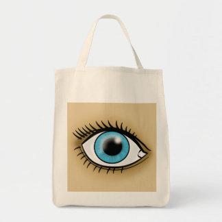 Icono del ojo azul bolsa tela para la compra