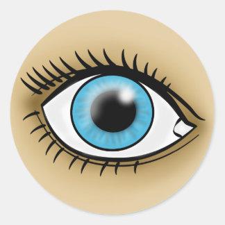 Icono del ojo azul pegatina redonda