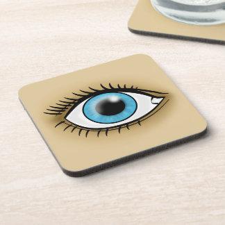 Icono del ojo azul posavaso
