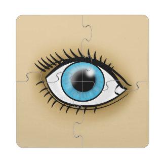 Icono del ojo azul posavasos de puzzle