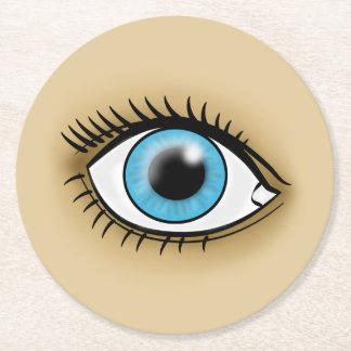 Icono del ojo azul posavasos desechable redondo