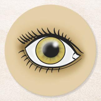 Icono del ojo pardo posavasos de cartón redondo