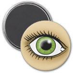 Icono del ojo verde imán redondo 7 cm