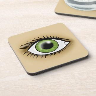 Icono del ojo verde posavasos de bebida
