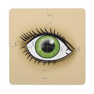 Icono del ojo verde posavasos de puzzle