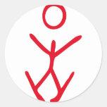 icono del principiante del esquí del esquí etiqueta redonda