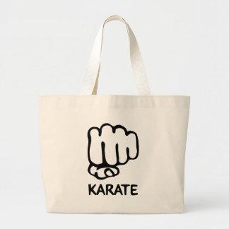 icono del puño del karate bolsa de tela grande