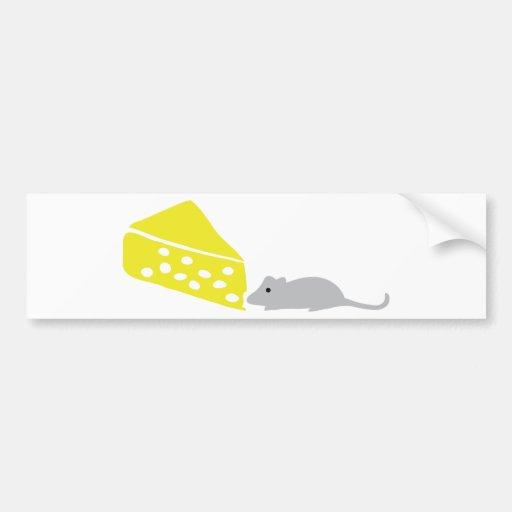 icono del ratón y del queso pegatina para auto