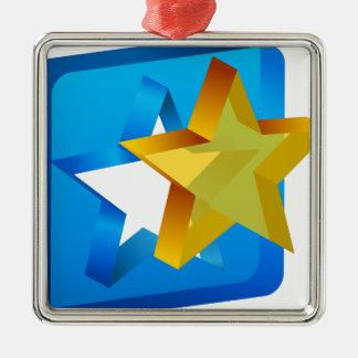 Icono del recorte del molde de la estrella adorno cuadrado plateado