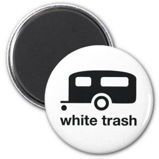 Icono del remolque de la basura blanca - parque de imán redondo 5 cm