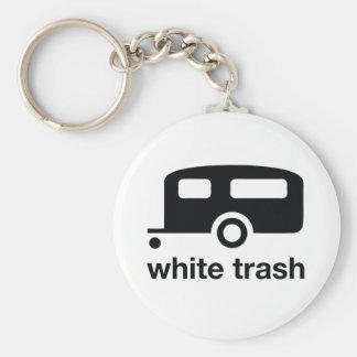 Icono del remolque de la basura blanca - parque de llaveros personalizados