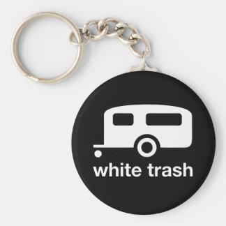 Icono del remolque de la basura blanca - parque de llavero redondo tipo pin