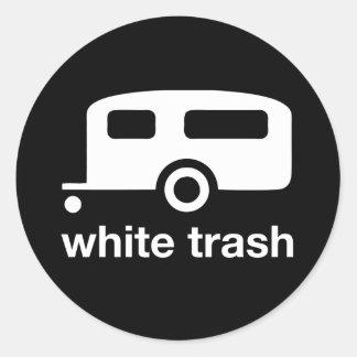 Icono del remolque de la basura blanca - parque de pegatina redonda