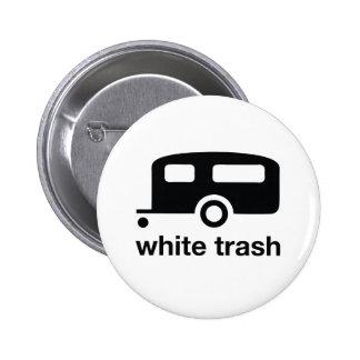 Icono del remolque de la basura blanca - parque de pin redondo de 2 pulgadas