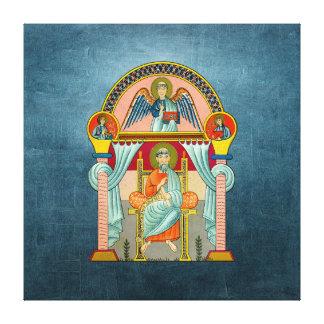 Icono del siglo VI de St Matthew en azul Impresiones En Lona