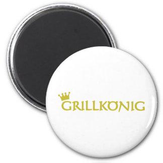 icono del texto del grillkönig imán redondo 5 cm