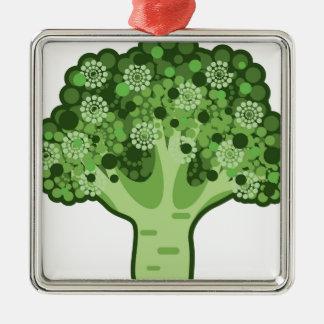 Icono del vector del bróculi adorno navideño cuadrado de metal