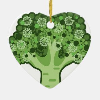 Icono del vector del bróculi adorno navideño de cerámica en forma de corazón
