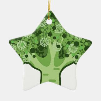 Icono del vector del bróculi adorno navideño de cerámica en forma de estrella