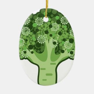 Icono del vector del bróculi adorno navideño ovalado de cerámica