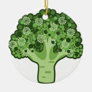 Icono del vector del bróculi adorno navideño redondo de cerámica