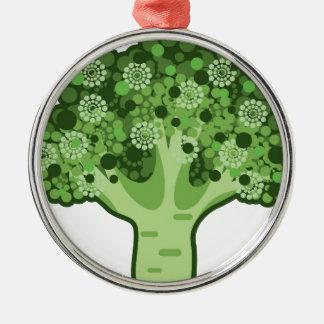 Icono del vector del bróculi adorno navideño redondo de metal
