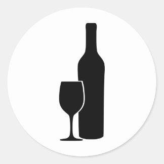 icono del vintner de la botella y del vidrio de pegatina redonda