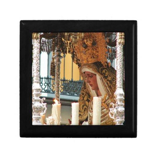 Icono del Virgen María Joyero Cuadrado Pequeño