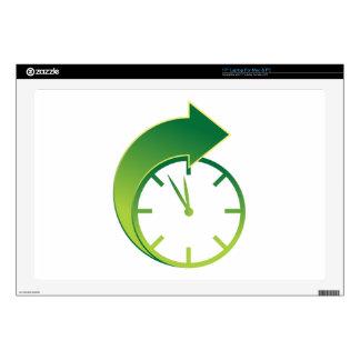 Icono delantero del tiempo de la flecha del reloj skins para portátiles
