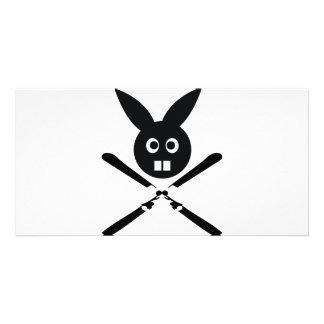 icono divertido del conejito del esquí tarjetas fotograficas personalizadas