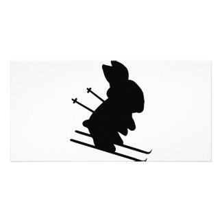 icono divertido del conejito del esquiador tarjeta fotografica
