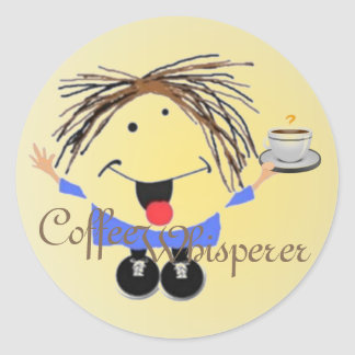 Icono divertido del whisperer del café pegatina redonda