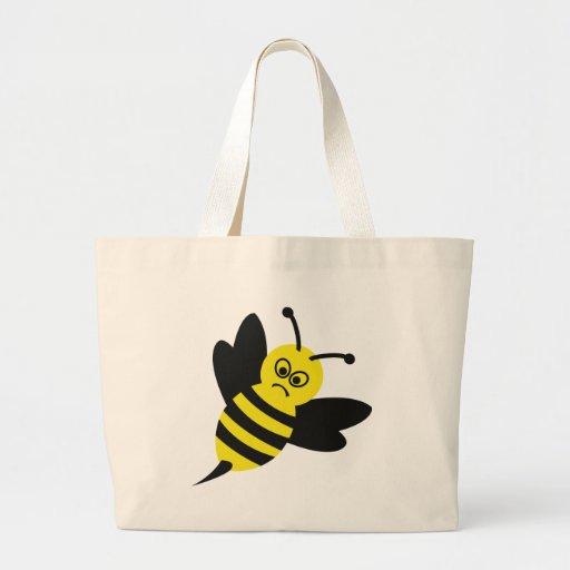 icono enojado de la abeja bolsa tela grande