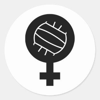 Icono femenino del voleibol pegatina redonda