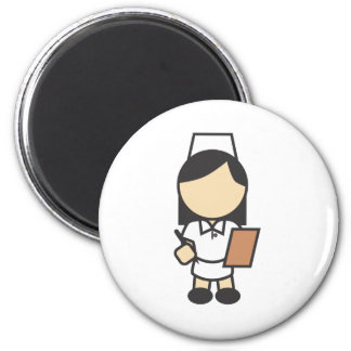 Icono femenino joven de la enfermera imán redondo 5 cm
