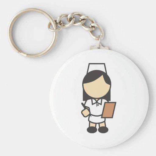 Icono femenino joven de la enfermera llavero