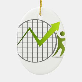 Icono financiero del consejero adorno navideño ovalado de cerámica