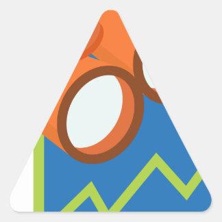 Icono financiero del pronóstico del informe pegatina triangular