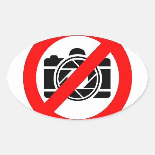 Icono fotográfico con símbolo rojo de la parada pegatina óval