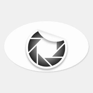 Icono fotográfico calcomania de óval