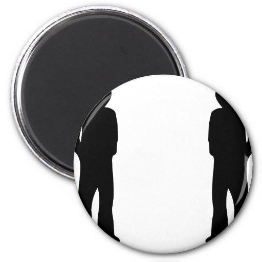 icono fresco negro de dos individuos imanes de nevera