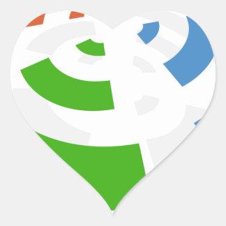 Icono inalámbrico de la señal pegatina en forma de corazón