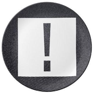 Icono largo de las exclamaciones platos de cerámica