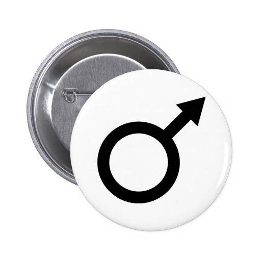 icono masculino de la muestra del hombre negro pin redondo 5 cm