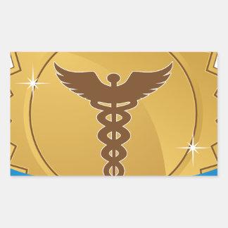 Icono médico de la insignia de la cinta de la pegatina rectangular