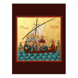 Icono místico de la tarjeta santa del rezo de la postales