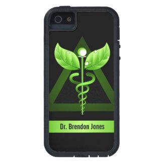 Icono natural de la terapia del caduceo verde iPhone 5 carcasas