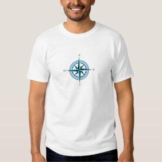 Icono náutico azul del rosa de compás remera