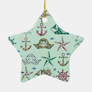 Icono náutico de las rayas adorno de cerámica en forma de estrella